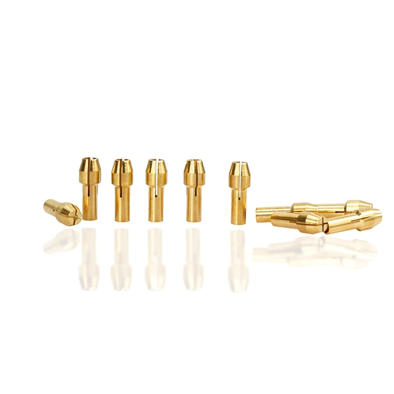 10pcs Mini Brass Drill Collets 0.5-3.2mm Clamp Drill Bits for Rotary Power Tool