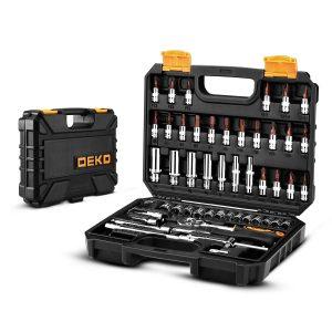 DEKO 53pcs car repair tools, multi-function socket set, torque wrench, tool box for woodworking, portable auto repair kit, tools