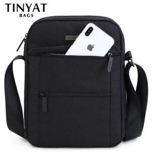 TINYTA bag for men light men shoulder bag for 9.7 'pad 9 pocket waterproof casual shoulder bag black canvas messenger bag T5001