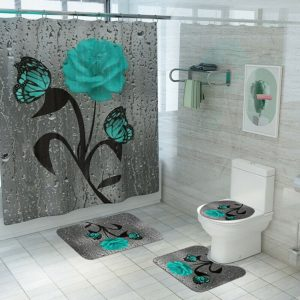 Kit Shower Curtain Accessories Tool Parts Replacement Butterfly Rose Print